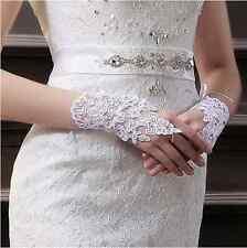 Brauthandschuhe Fingerlos Spitze Strass Blumen Hochzeit Braut Handschuhe Blumen