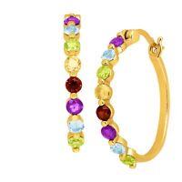 1 3/4 ct Natural Multi-Gem Hoop Earrings in 14K Gold-Bonded Sterling Silver