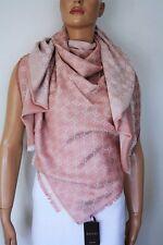 GUCCI Strickschal mit GG Jacquard-Muster 140x140 cm Wolle/Seide rosa NEU 281942