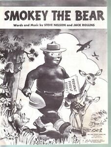 Smokey The Bear 1952 - Only You Can Prevent Forest Fires Sheet Music