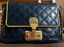 Marc Jacobs $1,150 Navy 'The Large Single' Quilted Leather Purse, Snakeskin Trim