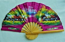 "VINTAGE HAND PAINTED WOODEN FAN ~19"" OPENED FAN ~ PRISTINE CONDITION"