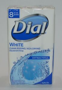8 BARS DIAL WHITE DEODORANT SOAP WASH ANTIBACTERIA NON DRYING 4 OZ HEALTHY SKIN