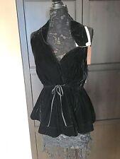 ALAIA Black Velour Shimmer Skater Peplum Tunic Top 4 Skirt Dress 38 NWT
