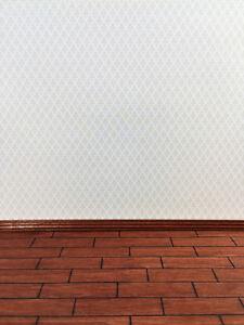 Dollhouse Miniature Brodnax Damask Cream Wallpaper Pale Green & Cream 1:12 Scale