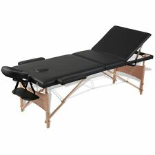 Black 3-Section Pu Portable Massage Table Spa Facial Tattoo Pad Bed w/ Carry Bag