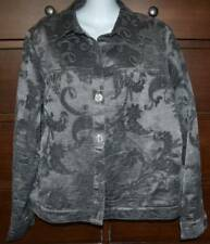 Coldwater Creek Embellished Pewter Silver Jacket Size Large