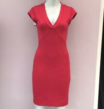 French Connection Dress Size 8 10 Red V-Neck Bandage Bodycon Rib Party Smart