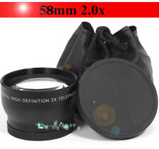 58mm 2.0X Telephoto Converter Lens For Canon EOS 1100D 1000D 600D 18-55mm Camera