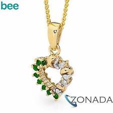 Round Diamond Emerald 9k 9ct Solid Yellow Gold Hearts Pendants 65478/G