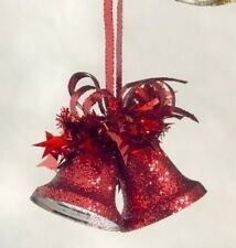 Weiste Red Glitter Bells Hanging Christmas Tree Decorations x2 NEW  19572