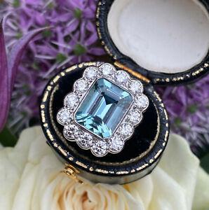 Victorian 3.50ct Aquamarine and 1.50ct Diamond Cluster Platinum Ring