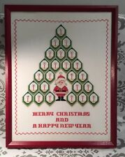 COMPLETED Vintage Christmas Framed Cross Stitch Design Santa Tree 19 x 15 #Shelf