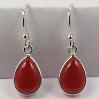 FINE EDH Elegant Earrings Genuine CARNELIAN Pear Gemstones 925 Sterling Silver