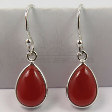 FINE EDH Elegant Earrings Genuine CARNELIAN Pear Gemstones 925 Sterling Silver
