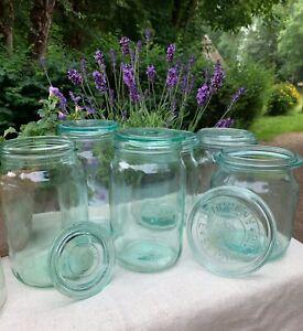 Vintage European Green/White Glass Lidded Jars