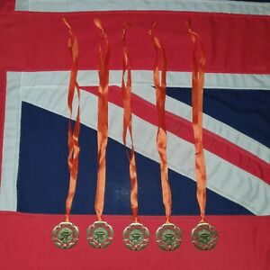 5 x Olympic Flame Gold Metal Medals on Ribbons JOB LOT BUNDLE School Sports Day