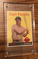 1958 Topps Los Angeles Dodgers #417 Carl Furillo In Lucite Screw Down Holder