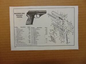 MAUSER HSC POCKET-PISTOL Parts assembly Diagram 1980's catalog  print ad
