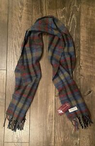 NWT John Hanly & Co Ltd 100% LAMBSWOOL Blue Red Grn Plaid SCARF Made in IRELAND