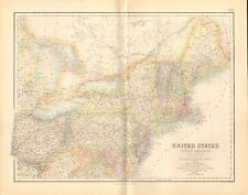 1874 ca LARGE ANTIQUE MAP- SWANSTON -USA- NORTH EASTERN STATES