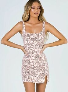 New Tags - PRINCESS POLLY Size 10-12 Red Print Elyse Mini  Dress