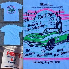Vintage Its A Rock & Roll Party Bowser & The Sting Rays T-Shirt 1990 L 90s Neon