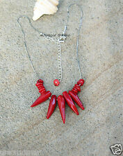 Genuine Coral Rich Red Hot 5 Chilli Peppers spikes Unisex necklace Handmade