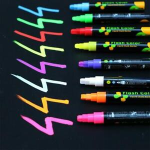 Colorful Dual Nib Liquid Chalk Highlighter Fluorescent Pencil Neon Pens M6N2