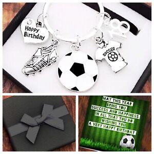 30th 40th 50th BIRTHDAY Gift, FOOTBALL Keyring, 11th 12th 13th BOX & CARD