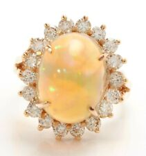 4.75 Carat Natural Ethiopian Opal and Diamonds in 14K Solid Rose Gold Women Ring