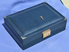 Rarissima scatola cofanetto in pelle blu porta orologio gioielli ROLEX 51 00 01