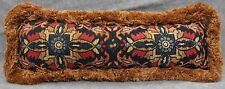 "Ralph Lauren Poet's Society Tapestry Custom Pillow with Brushed Fringe 24"" x 7"""