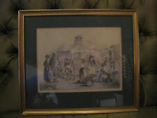 Antique Pencil Drawing / Sketch of Victorian Era Market Scene