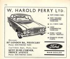 1968 W Harold Perry Ltd Ford Dealers Westcliffe Southend Car Parts Ad