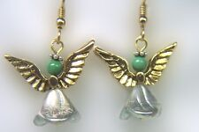 Gold and Silver Angel Earrings with Malachite