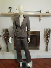 TAHARI Brown 2-Piece Business/Career Wool Blend Pant Suit-Size 4