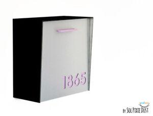 Modern Mailbox Aluminum Silver Face, Black Body, Purple Acrylic numbers, Type 1