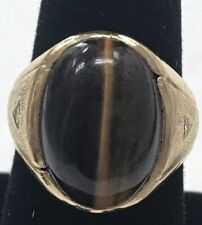 MENS 14K Yellow Gold Tiger's Eye Ring Art Deco 7.6 grams Size 8 Love Stunning