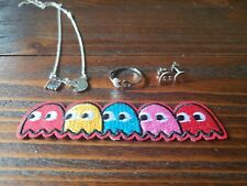4 Piece Pacman Jewelry Set Earrings Adjustable Ring Necklace Iron On Patch