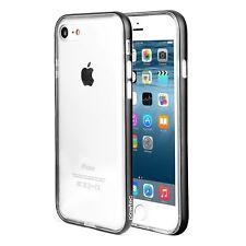 Pawtec iPhone 8 / 7 Clear Protective TPU Bumper Case w/ Aluminum Frame Black