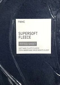 Next Fitted Sheet King Size Navy Blue Fluffy Fleece Teddy Winter Cost New Home