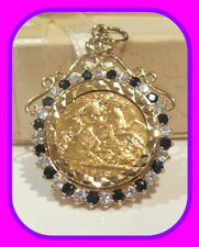 HEAVY 8.02G 1912 22CT GOLD ½ SOVEREIGN COIN 9CT GENUINE SAPPHIRE GEM PENDANT