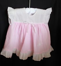 00 vintage baby dress embroidery appliqued heart flowers pink white spot frills