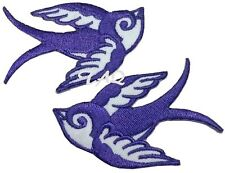 Pair Of Purple Swallows Rockabilly  Iron / sew on silk Embroidered Patch UK