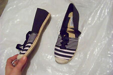 womens report bee blue & white fabric espadrilles flats shoes size 7