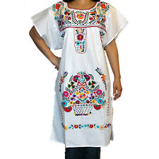 Assorted Knee-Length Peasant Tunic Embroidered Mexican Dress