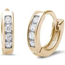Cz .925 Sterling Silver Earrings Yellow Gold Plated Small Baby