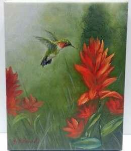 8x10 Hummingbird Green Red Original Oil Painting Art New Floral Wall Art Work