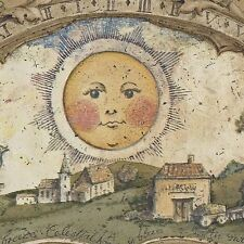 Vintage Sun - Moon Arches over Colonial Farm - Wallpaper Border Cr